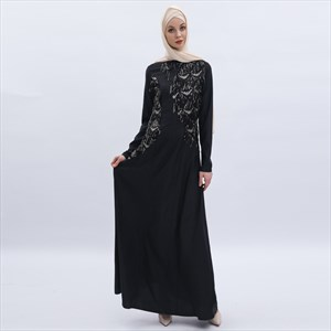 Black Sequin Embellished Long Sleeves Abaya Dress Robe