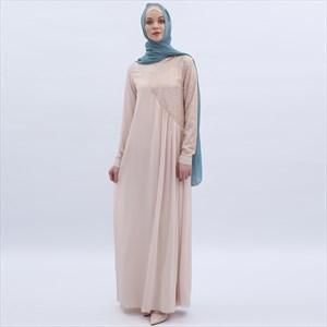 Chiffon Long Sleeve Dress With Sequin Embellishment