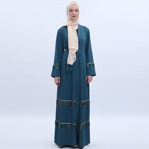 Sequins Tassel Turkey Robe Abaya Cardigan With Sash