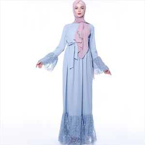 Sky Blue Chiffon Long Sleeves Robe Abaya Dress With Lace Trim