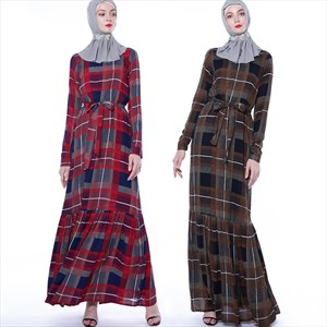 A-Line Long Sleeve Plaid Long Maxi Dress With Sash