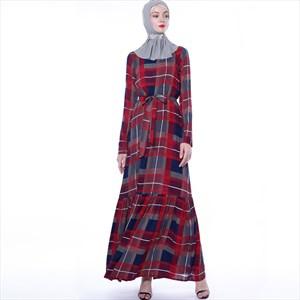 A-Line Long Sleeve Plaid Long Maxi Dress With Sash