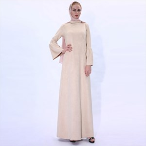 Women's A-Line Suede Abaya Dress With Trumpet Sleeve