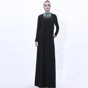 Women's A-Line Rhinestone Robe Abaya Dress With Tassels