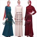 A-Line Sequin Embellished Abaya Dress With Tassels