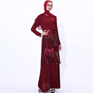 A-Line Sequin Embellished Abaya Dress With Tassels