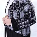 Elegant Black Chiffon Leaf Print Long Sleeves Kimono Cardigan