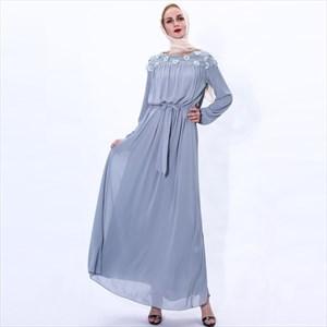 Chiffon Daisy Embroidery Long Sleeves Dress With Sash