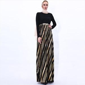 Pleated Long Sleeves Turkey Abaya Dress With Gold Belt