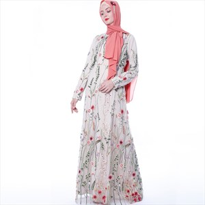 Floral Embroidered Tulle Long Sleeves Robe Abaya Dress