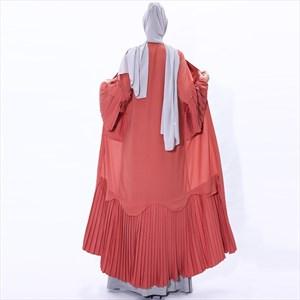 Pleated Cardigan Kimono With Trumpet Sleeves