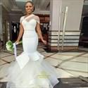 Ivory Mermaid Beaded Cap Sleeve Wedding Dress With Corset Satin Bodice