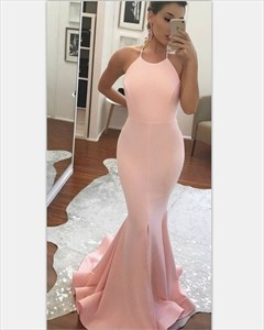 Pink Halter Neck Backless Long Chiffon Mermaid Formal Dress