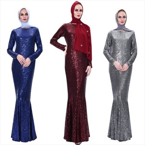 Sequin Mermaid Long Sleeve Ramadan Abaya Dress