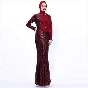 Sequin Mermaid Long Sleeve Ramadan Abaya Dress