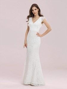 Elegant Creamy Mermaid Lace Overlay V-Neck Wedding Dress