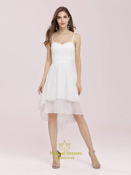Lace Bodice Knee Length Chiffon Cocktail Dress With Spaghetti Straps