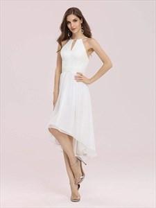 High Low Lace Bodice Chiffon Skirt Pleated Wedding Dress