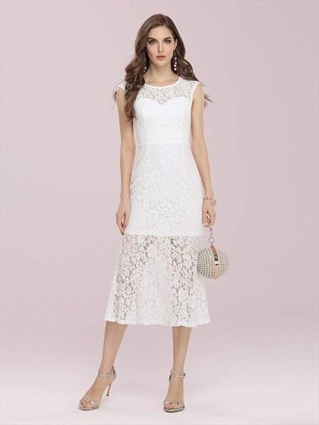 Gorgeous Round Neck Sleeveless Lace Overlay Midi Party Dress