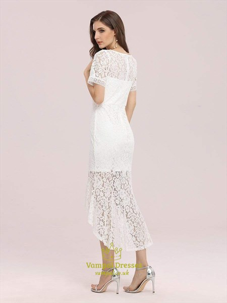 V-Neck Mermaid Tea Length Lace Overlay Party Dress With Short Sleeves