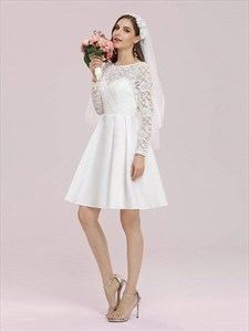 Lace Bodice Satin A-Line Short Wedding Dress With Long Sleeves