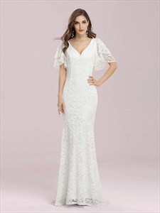V-Neck Mermaid Lace Overlay Wedding Dress With Flutter Sleeves