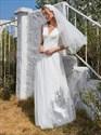 V-Neck Cap Sleeve Tulle Wedding Dress With Lace Bodice