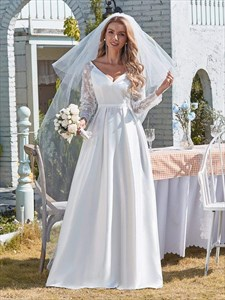 White V-Neck Satin Wedding Dress With Lace Long Sleeves