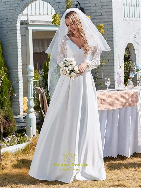 White V-Neck Satin Wedding Dress With Lace Long Sleeves