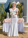 Ivory Mermaid/Fishtail Wedding Dress With Ruffle Sleeves