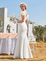Ivory Mermaid/Fishtail Wedding Dress With Ruffle Sleeves