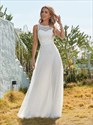 Round Neck Sleeveless Lace Embellished Tulle Wedding Dress