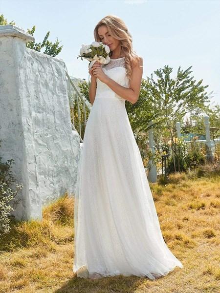 Round Neck Sleeveless Lace Embellished Tulle Wedding Dress