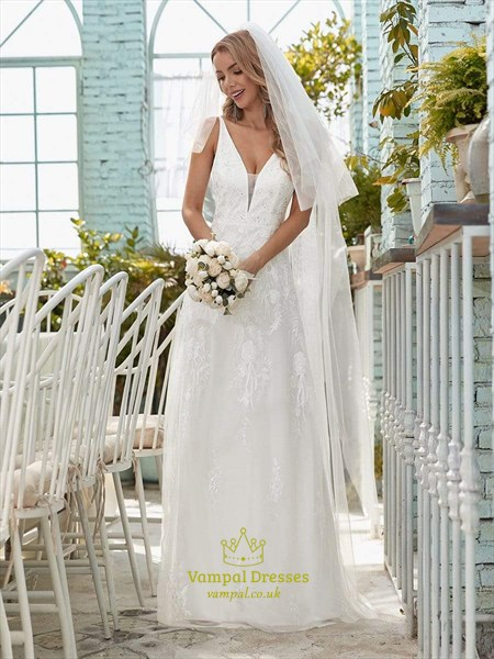 V Neck Sleeveless Tulle Wedding Dress With Floral Embroidery