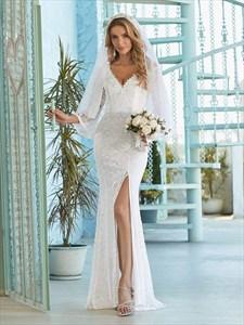 Mermaid Lace Overlay Long Sleeves Wedding Dress With High Split
