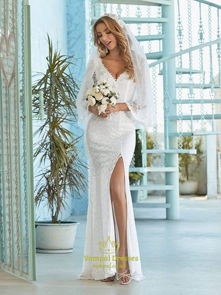 Mermaid Lace Overlay Long Sleeves Wedding Dress With High Split