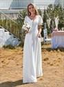 White Lace Bodice Chiffon Wedding Dress With Short Sleeves