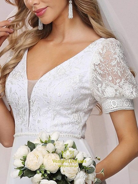 White Lace Bodice Chiffon Wedding Dress With Short Sleeves