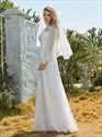 Lace Bodice High Neck Chiffon Wedding Dress With Sheer Sleeves