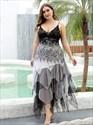 Spaghetti Straps Layered Asymmetrical Hem Cocktail Prom Dress