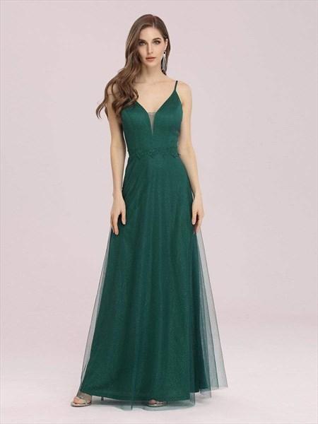 Emerald Green V Neck A-Line Maxi Evening Dress With Lace Applique