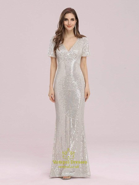 Gold V-Neck Sequin Mermaid Evening Dress With Short Sleeves