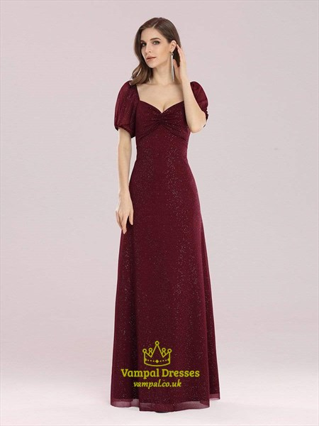 Burgundy Sweetheart Pleated Short Sleeves Bridesmaid Dress