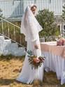 Chiffon Long Puff Sleeves Wedding Dress With Lace Embellished