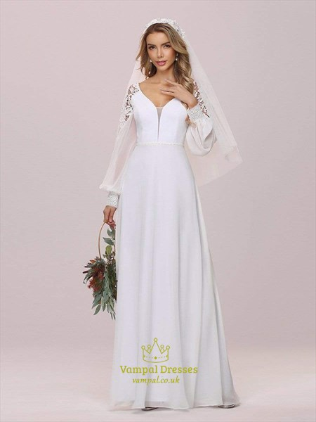 Chiffon Long Puff Sleeves Wedding Dress With Lace Embellished