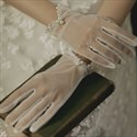Ivory Pleated Pearls Embellished Gloves With Bowknot
