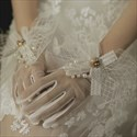 Ivory Tulle Pearls Embellished Gloves With Bowknot