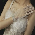 Tulle Pearls Embellished Gloves