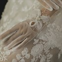 Pearls Embellished Tulle Short Gloves