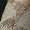 Pearls Embellished Tulle Short Gloves